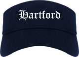 Hartford Wisconsin WI Old English Mens Visor Cap Hat Navy Blue