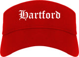 Hartford Wisconsin WI Old English Mens Visor Cap Hat Red