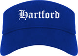 Hartford Wisconsin WI Old English Mens Visor Cap Hat Royal Blue