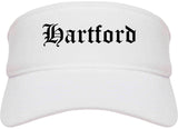 Hartford Wisconsin WI Old English Mens Visor Cap Hat White
