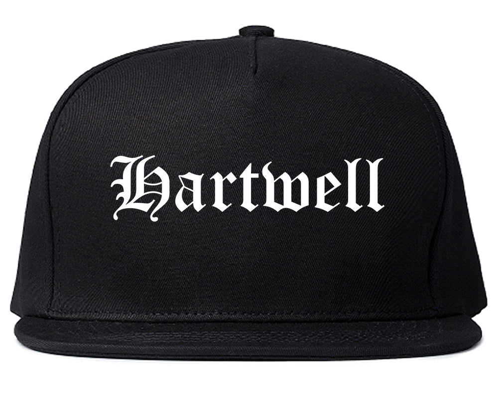Hartwell Georgia GA Old English Mens Snapback Hat Black