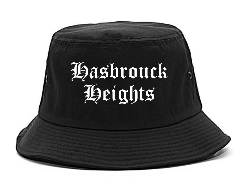 Hasbrouck Heights New Jersey NJ Old English Mens Bucket Hat Black