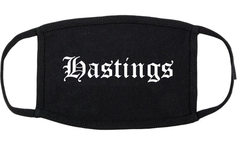 Hastings Nebraska NE Old English Cotton Face Mask Black