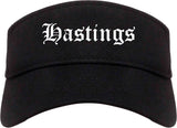 Hastings Nebraska NE Old English Mens Visor Cap Hat Black
