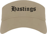 Hastings Nebraska NE Old English Mens Visor Cap Hat Khaki