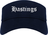 Hastings Nebraska NE Old English Mens Visor Cap Hat Navy Blue