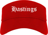 Hastings Nebraska NE Old English Mens Visor Cap Hat Red