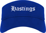 Hastings Nebraska NE Old English Mens Visor Cap Hat Royal Blue