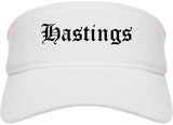 Hastings Nebraska NE Old English Mens Visor Cap Hat White