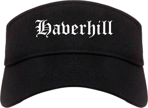 Haverhill Massachusetts MA Old English Mens Visor Cap Hat Black