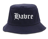 Havre Montana MT Old English Mens Bucket Hat Navy Blue