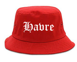 Havre Montana MT Old English Mens Bucket Hat Red