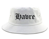 Havre Montana MT Old English Mens Bucket Hat White
