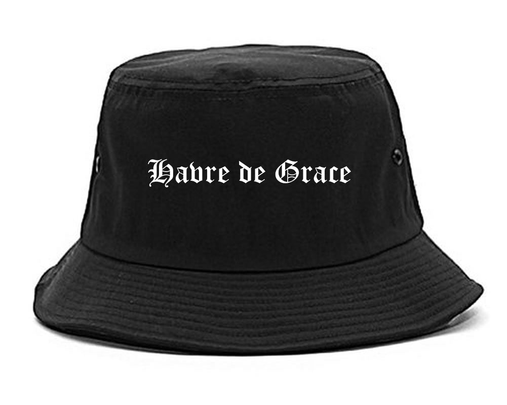 Havre de Grace Maryland MD Old English Mens Bucket Hat Black