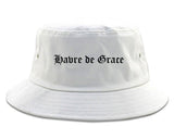 Havre de Grace Maryland MD Old English Mens Bucket Hat White