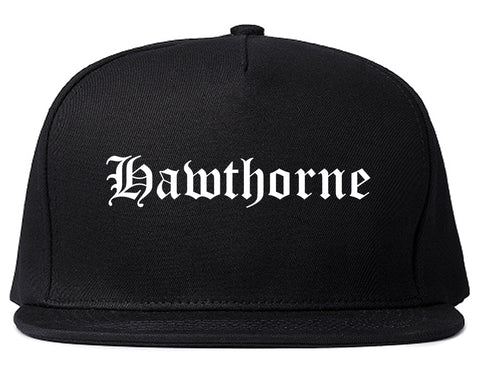 Hawthorne California CA Old English Mens Snapback Hat Black