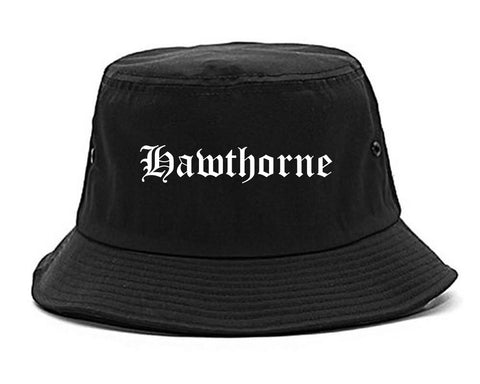 Hawthorne California CA Old English Mens Bucket Hat Black