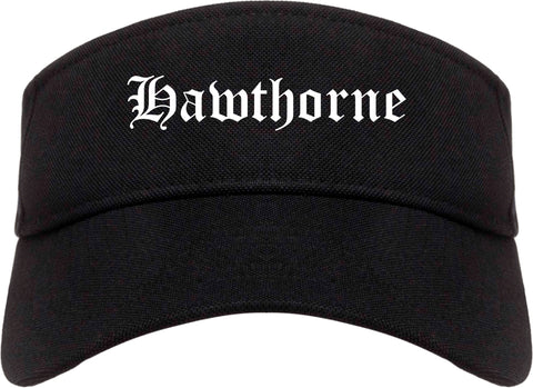 Hawthorne California CA Old English Mens Visor Cap Hat Black