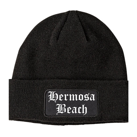 Hermosa Beach California CA Old English Mens Knit Beanie Hat Cap Black