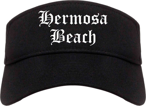 Hermosa Beach California CA Old English Mens Visor Cap Hat Black