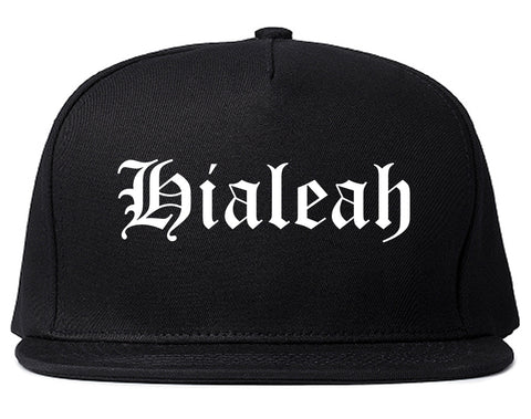 Hialeah Florida FL Old English Mens Snapback Hat Black