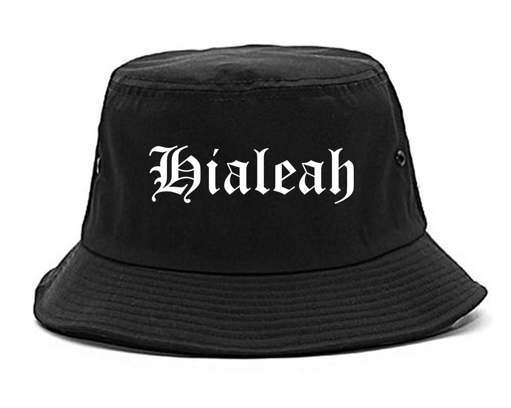 Hialeah Florida FL Old English Mens Bucket Hat Black