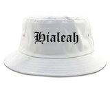 Hialeah Florida FL Old English Mens Bucket Hat White