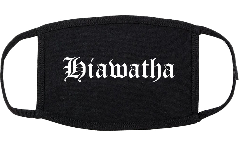 Hiawatha Iowa IA Old English Cotton Face Mask Black
