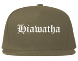 Hiawatha Iowa IA Old English Mens Snapback Hat Grey
