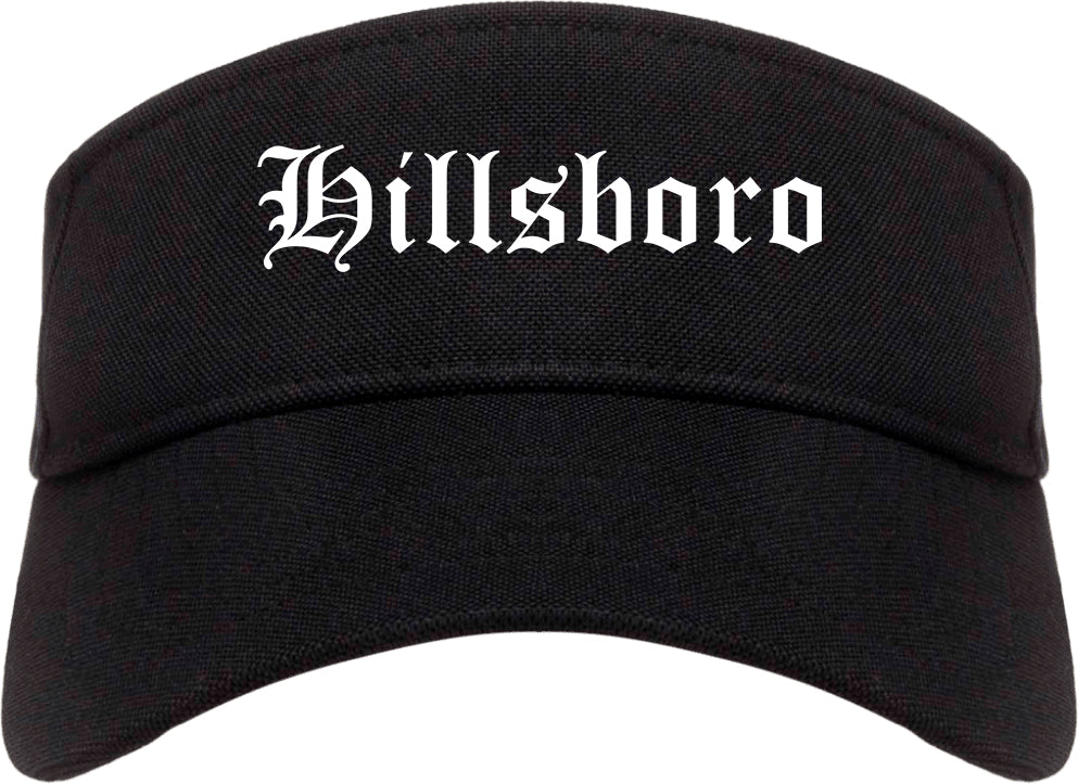 Hillsboro Ohio OH Old English Mens Visor Cap Hat Black