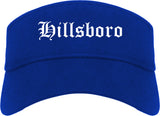 Hillsboro Ohio OH Old English Mens Visor Cap Hat Royal Blue