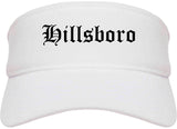 Hillsboro Ohio OH Old English Mens Visor Cap Hat White