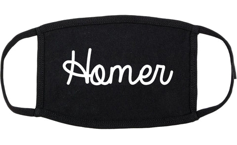 Homer Alaska AK Script Cotton Face Mask Black