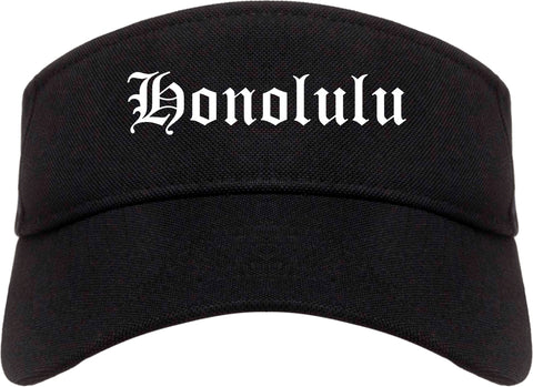 Honolulu Hawaii HI Old English Mens Visor Cap Hat Black