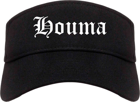 Houma Louisiana LA Old English Mens Visor Cap Hat Black