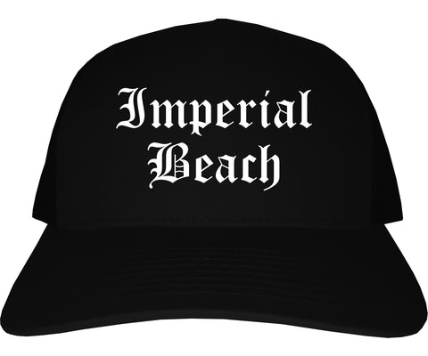 Imperial Beach California CA Old English Mens Trucker Hat Cap Black