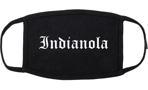 Indianola Iowa IA Old English Cotton Face Mask Black