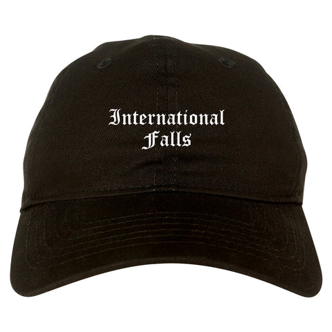 International Falls Minnesota MN Old English Mens Dad Hat Baseball Cap Black