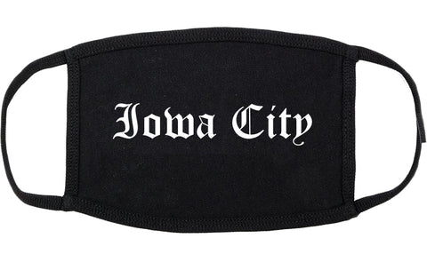 Iowa City Iowa IA Old English Cotton Face Mask Black