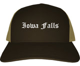 Iowa Falls Iowa IA Old English Mens Trucker Hat Cap Brown