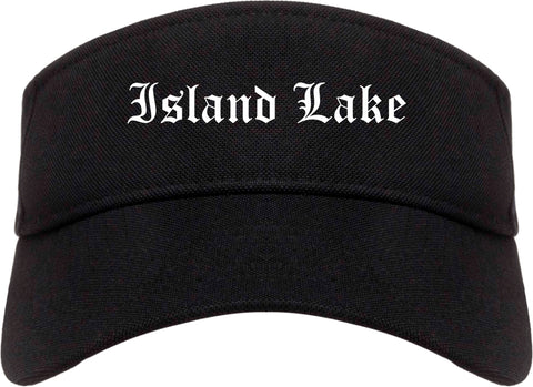 Island Lake Illinois IL Old English Mens Visor Cap Hat Black