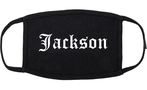 Jackson Wyoming WY Old English Cotton Face Mask Black