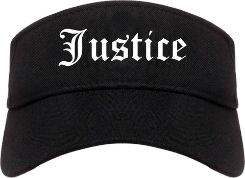 Justice Illinois IL Old English Mens Visor Cap Hat Black