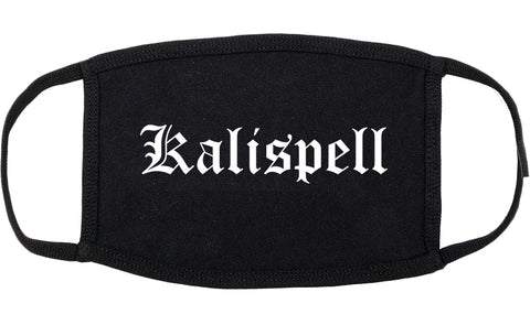 Kalispell Montana MT Old English Cotton Face Mask Black