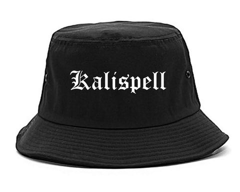 Kalispell Montana MT Old English Mens Bucket Hat Black