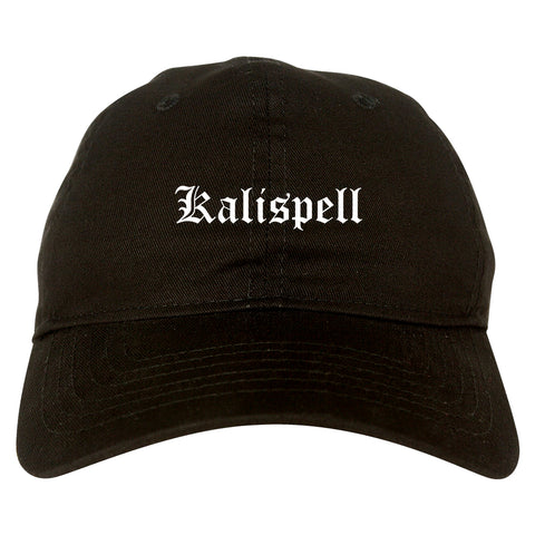 Kalispell Montana MT Old English Mens Dad Hat Baseball Cap Black