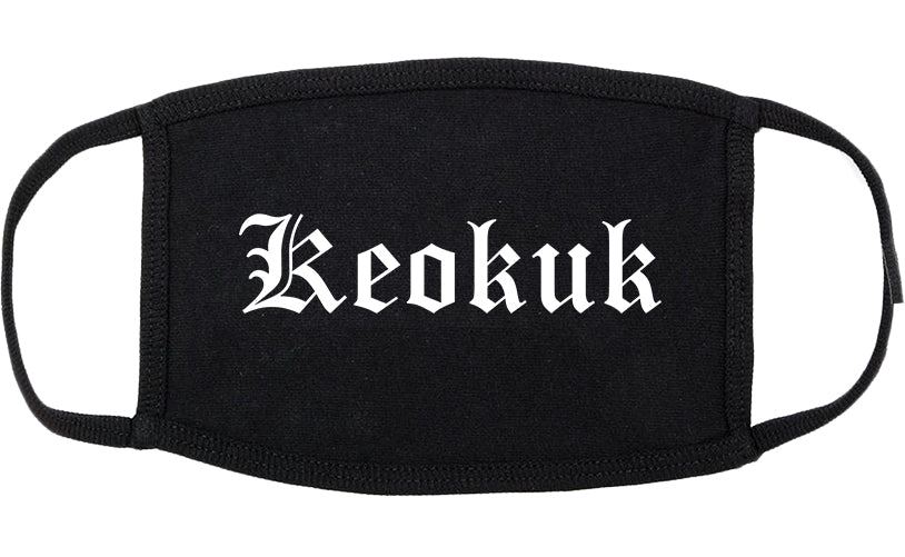 Keokuk Iowa IA Old English Cotton Face Mask Black