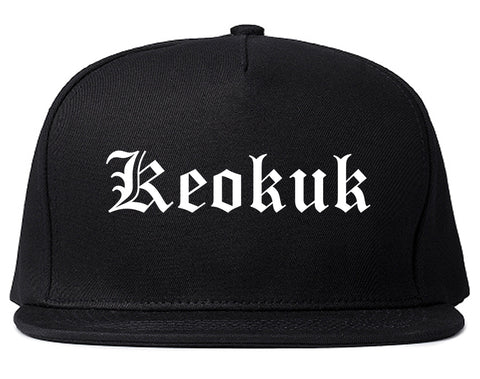 Keokuk Iowa IA Old English Mens Snapback Hat Black