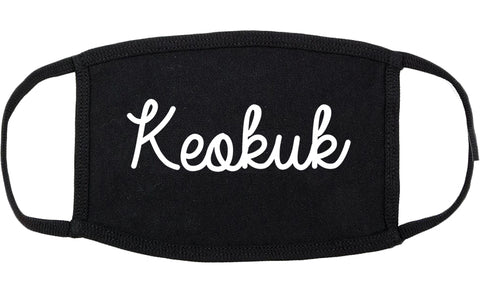Keokuk Iowa IA Script Cotton Face Mask Black