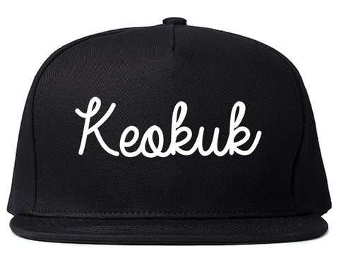 Keokuk Iowa IA Script Mens Snapback Hat Black